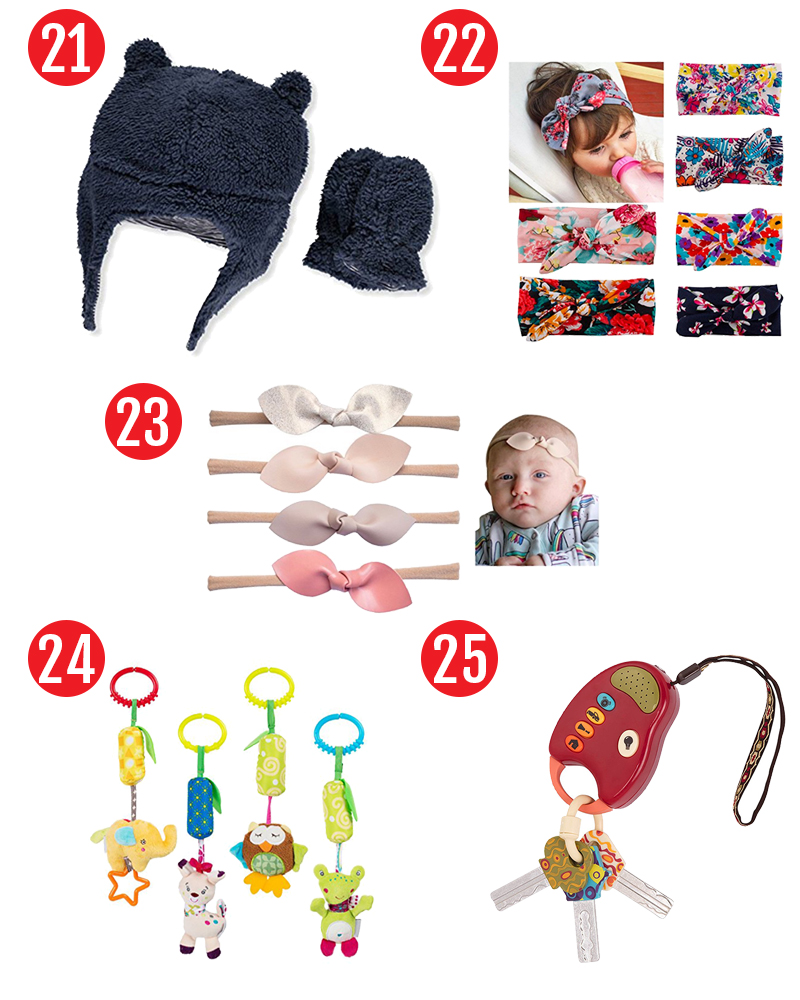 Stocking stuffers for babies. Find 75 stocking stuffer ideas for kids. Perfect stocking stuffers for babies, toddlers. and preschoolers. #christmas #stockings #stockingstuffers