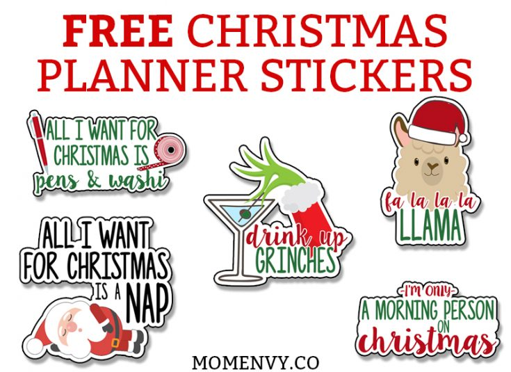 Free Christmas Planner Stickers - 25 Different Funny & Cute Designs