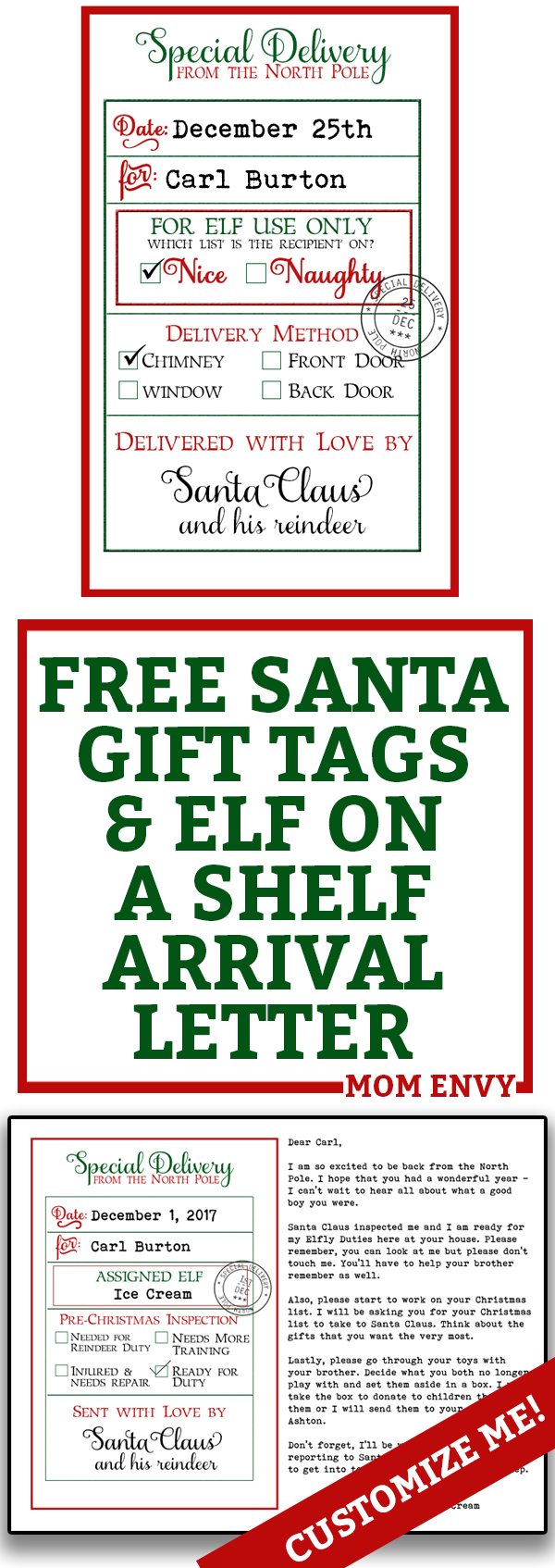 graphic relating to Free Printable Santa Gift Tags known as Free of charge Tailor made Santa Present Tags and Elf Introduction Letter - 3 Free of charge
