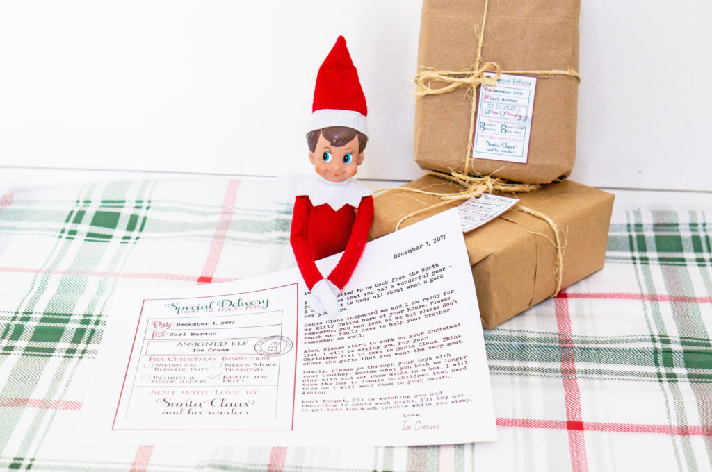 Free Custom Santa Gift Tags and Elf on a Shelf Arrival Letter. Free printable Christmas gift tags from Santa and Free Elf on a Shelf printable. #christmas #freechristmasprintables #gifttags #elfonashelf