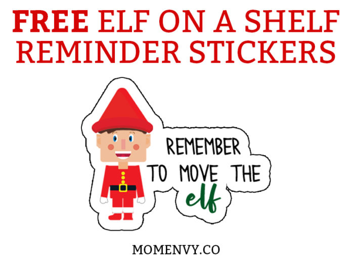Elf on a shelf reminder stickers. Remind yourself to move the elf or use them to help set up a schedule for your elf's every move. #elfonashelf #freebies #freeprintables #christmasprintables