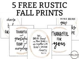 5 Free Fall Prints. Print your own farmhouse style fall prints for your home. Decorate your home with these free Thanksgiving prints. #thanksgivingdecor #freeprintables #freefallprints #fallprintables