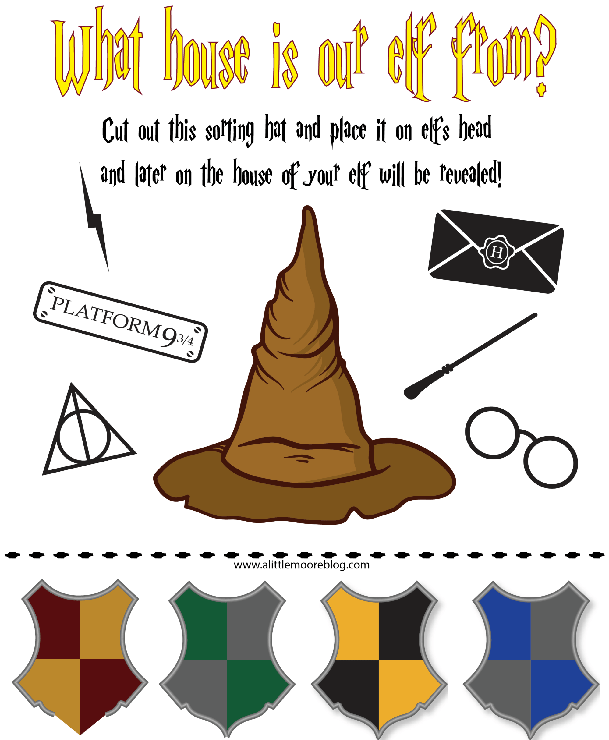 Elf On The Shelf Harry Potter Hogwarts Sorting Hat Printable Mom Envy