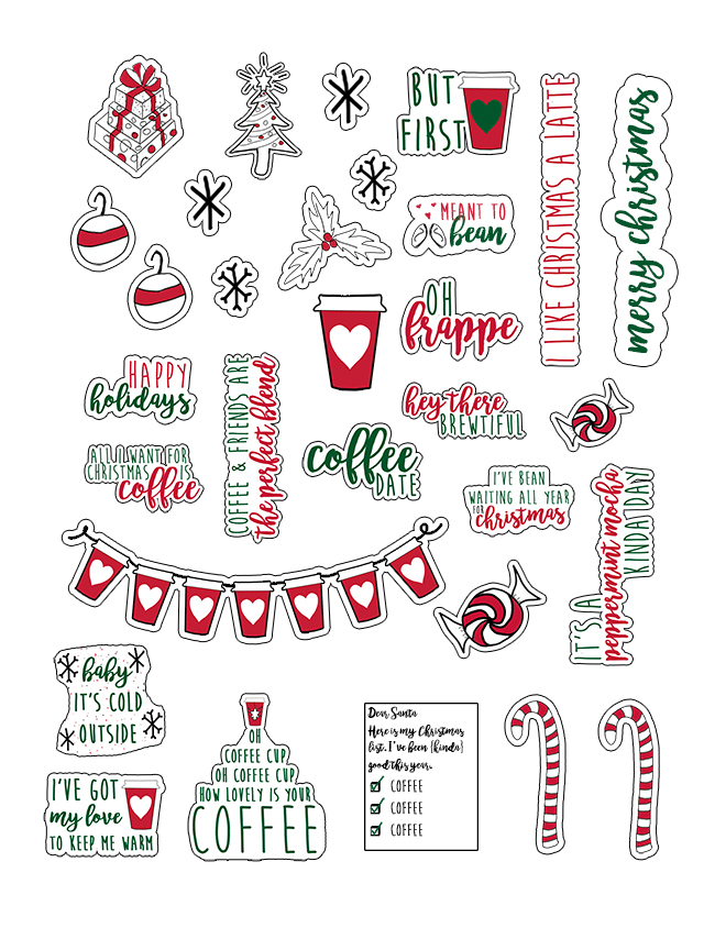 #ad Adorable free Christmas Coffee planner stickers and die-cuts that pair perfectly with Starbucks® k-cups and coffee. Free planner stickers for the Happy Planner, Erin Condren, Recollections, TN's, and more! Free SVG, Silhouette, JPEG, and PNG files included. They come in two sizes (the larger set is perfect for die-cuts!) #starbucks #freebies #christmas #plannerstickers #SavorHolidayFlavors #happyplanner #erincondren