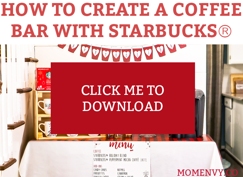 #ad How to Create a Coffee Bar with Starbucks®. Learn some tips and tricks for setting up a holiday coffee bar. Learn how to make a festive party space this Christmas. Free printables included - holiday coffee banner, free coffee gift tag, free Christmas coffee planner stickers, and more. #starbucks #freebies #christmas #coffeebar #plannerstickers