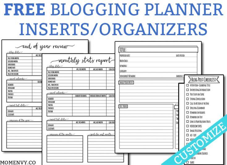 FREE Blogging Planner Inserts and Organizers - Free Customization