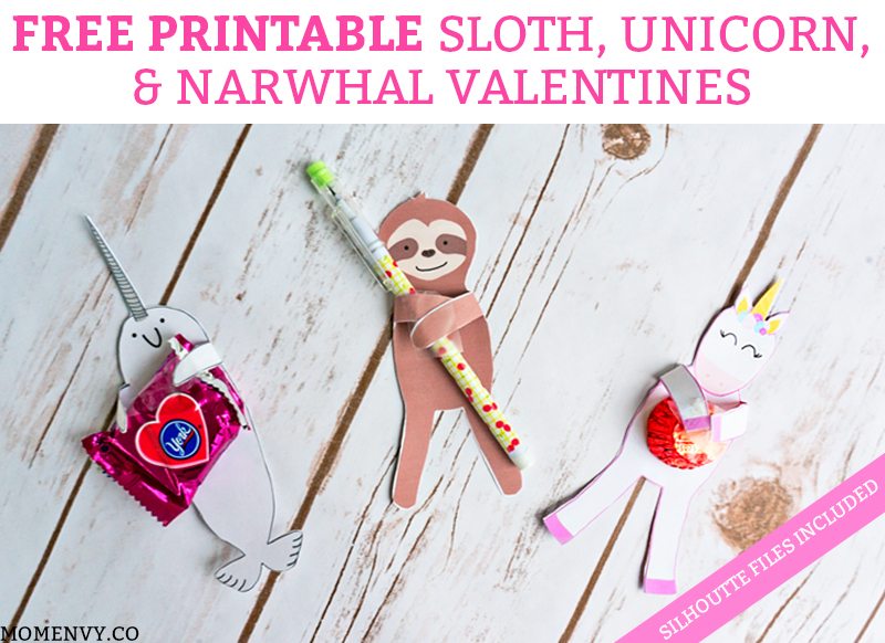 FREE Animal Valentines - Sloth Valentine, Unicorn Valentine, and Narwhal Valentine. Print 3 free valentine candy holders or valentine pencil holders. They can hold any small trinket. #freevalentines #freeprintablevalentines #valentinesday #freeprintables #kidprintables