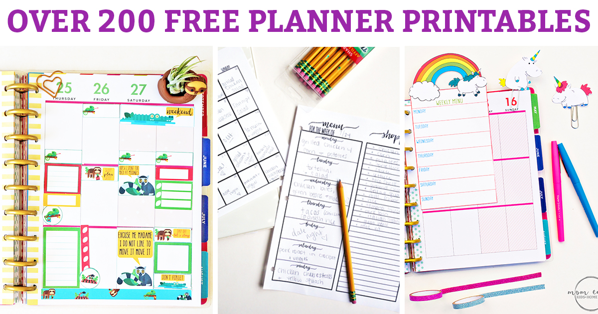 graphic regarding Free Printable Planners identified as Absolutely free Planner Printables - Above 200 absolutely free Printables (Stickers