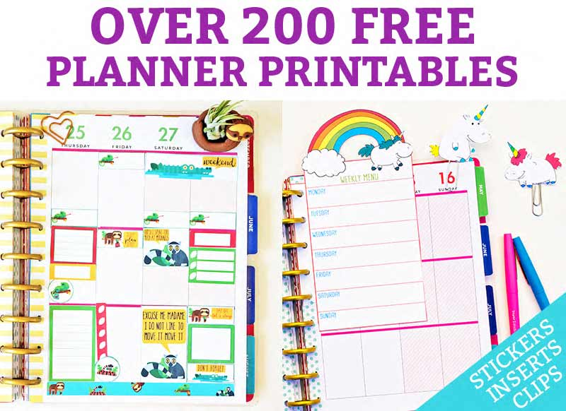 Free Planner Printables is at the top of the image in purple on a white background. Below that, is a picture of 2 different opened planners. One has sloth stickers and the other has a rainbow unicorn insert overtop of a pink weekly planner layout.