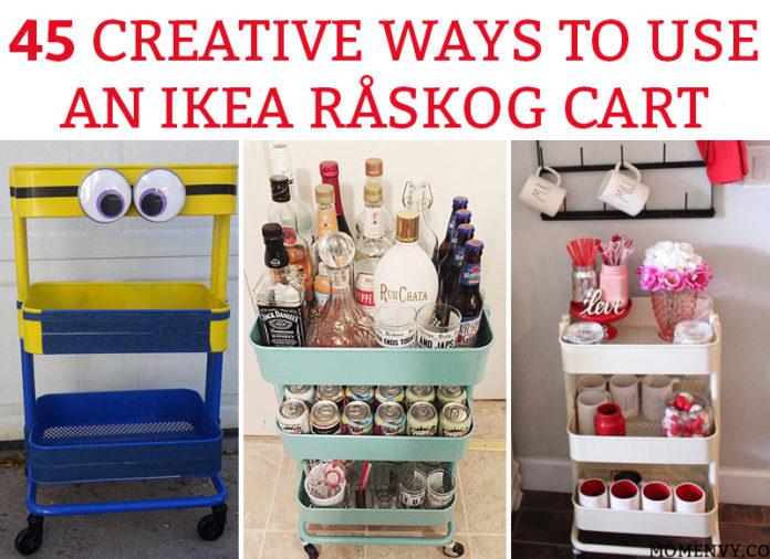 45 Creative Ways to Use a RÅSKOG Ikea Cart. Get organized this year with one of these amazing ideas how using a 3 tier raskog cart. #raskog #raskogcart #organization #ikea