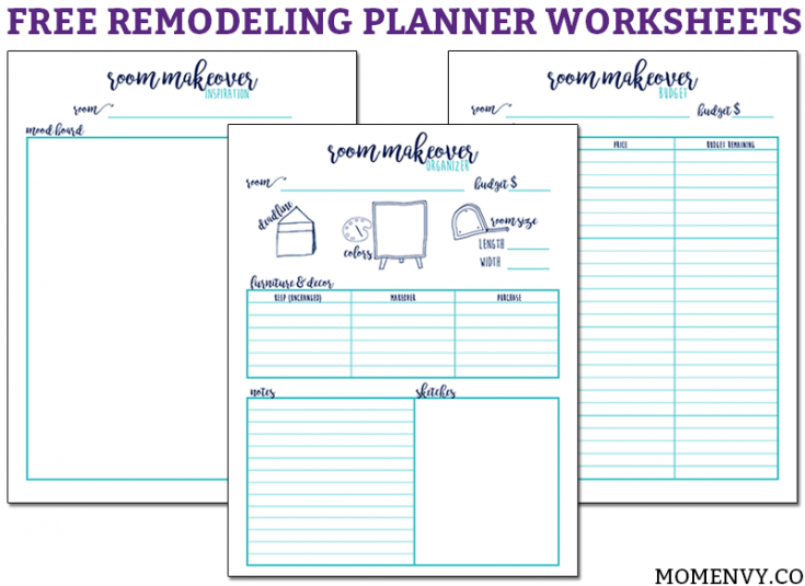 Remodeling Planner - 3 Worksheets to Plan Out your Next Makeover