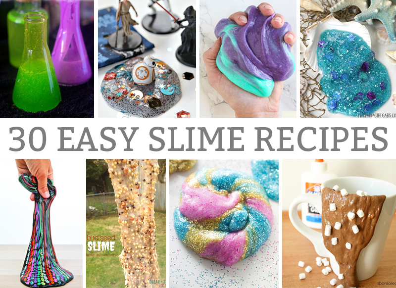 30 Easy Slime Recipes that your kids will LOVE. These recipes can quickly be created to help beat summer boredom, or for a rainy day activity. They're also great for a party activity. #slime #slimerecipe #slimerecipes #easyslime #kids