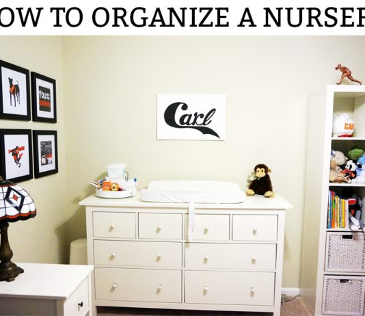 How to set up a nursery. Learn some easy tips to organize a nursery before the baby gets here. Free diagram included. #nursery #pregnancy #organization #nurserydecor