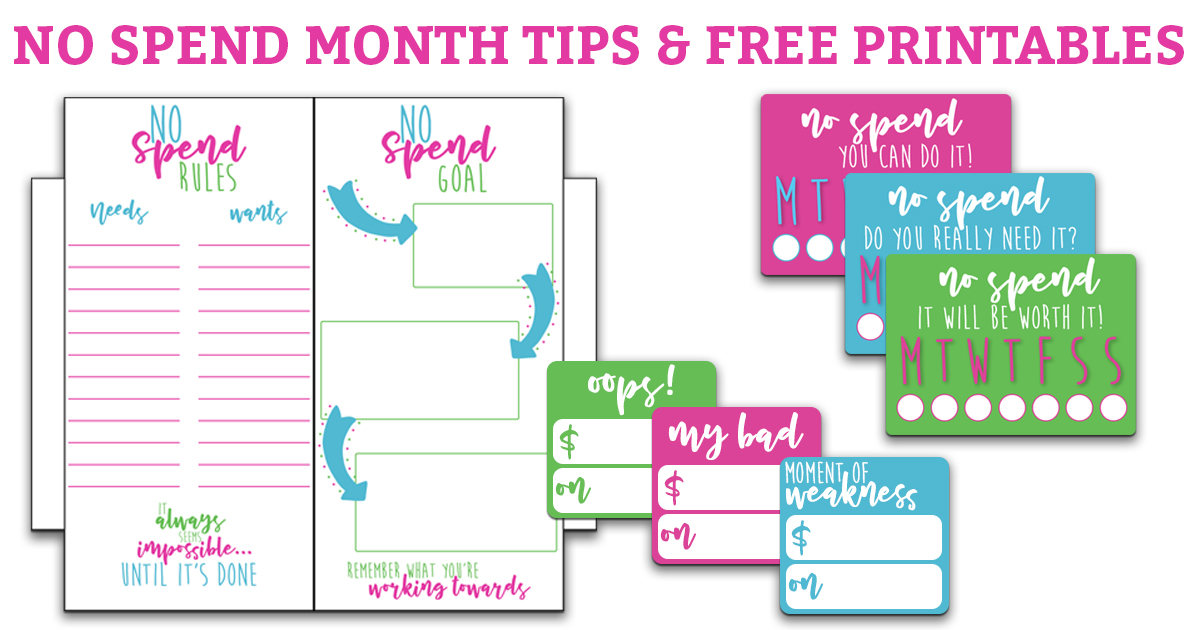 Learn some tips how to survive a No Spend month and get some FREE printables (perfect for your planner) to help you succeed! #nospend