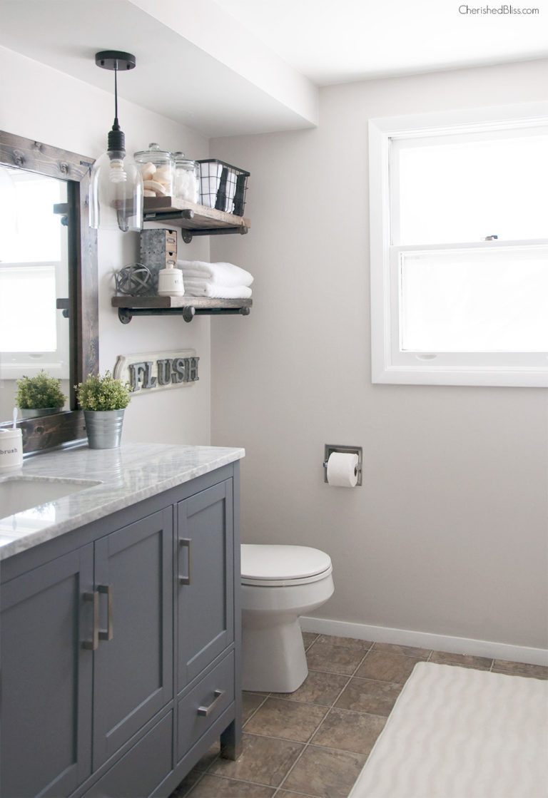 Diy Bathroom Remodel From Pink To Farmhouse One Room Challenge