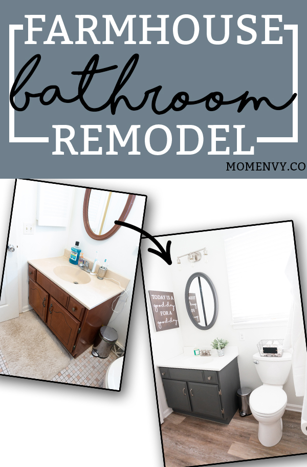DIY Bathroom Remodel - Check out our DIY bathroom remodel reveal to see how we turned our pink 80's bathroom to a modern farmhouse bathroom for the One Room Challenge. See how we were able to DIY everything ourselves to give our bathroom a completely fresh and clean, farmhouse look. #oneroomchallenge #diy #diyprojects #bathroom #bathroomremodel #farmhousestyle via @momenvy