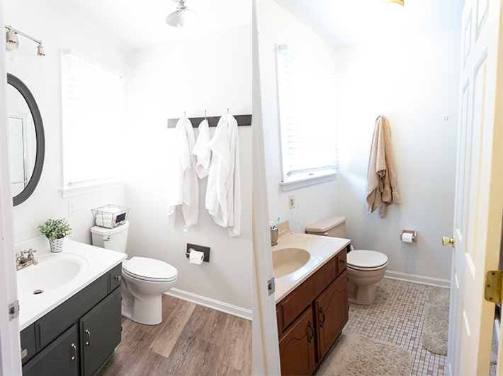 DIY Bathroom Remodel - Check out our DIY bathroom remodel reveal to see how we turned our pink 80's bathroom to a modern farmhouse bathroom for the One Room Challenge. See how we were able to DIY everything ourselves to give our bathroom a completely fresh and clean, farmhouse look. #oneroomchallenge #diy #diyprojects #bathroom #bathroomremodel #farmhousestyle