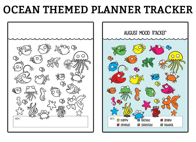 picture relating to Bullet Journal Mood Tracker Printable identified as Ocean Temper Tracker - Totally free Printable Bullet Magazine Ocean Tracker
