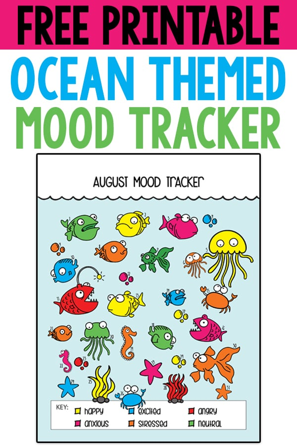 "Free Ocean Mood Tracker and Bullet Journal Tracker. This adorable bullet journal tracker can be used for all sorts of topics from mood tracking, to no spend, to days drinking water or not saying ""sorry,"" tracking weight loss, a count down to a trip, etc. #planneraddict #bujo #bulletjournal"
