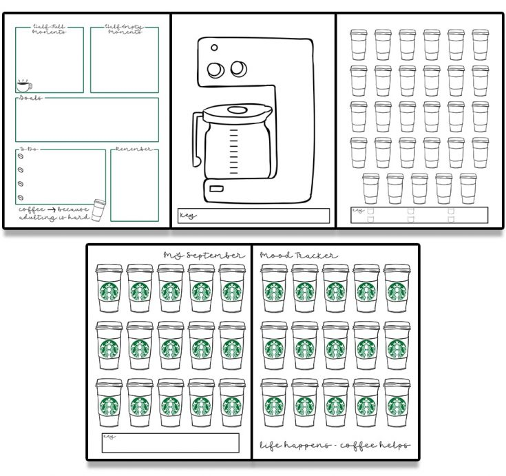 Coffee Bullet Journal - Free Fall Planner Inserts
