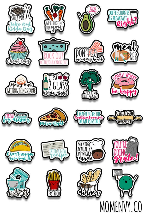 FREE Funny Meal Planning Stickers. 24 different designs are available to download. These meal planner stickers include free Silhouette files as well. Make meal planning more fun with these adorable adulting planner stickers. They're perfect to use with the Happy Planner, Erin Condren, Recollections, and more. #adulting #plannerlover