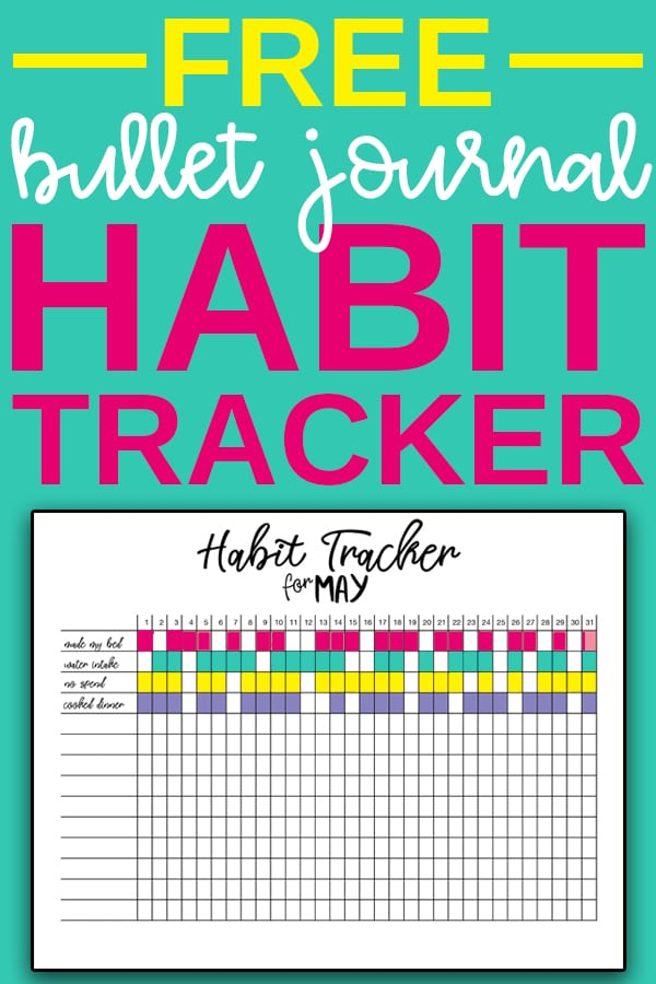 Habit Tracker Bullet Journal - Download this set of free monthly and yearly habit tracker bullet journal pages. It also includes a list of free bullet journal tracking ideas. #planneraddict #plannerlove #happyplanner #bujo