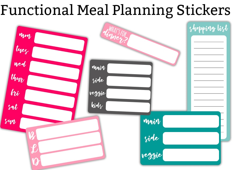 graphic about Free Printable Food Planner Stickers called Evening meal Coming up with Stickers - Free of charge Practical Evening meal Planner Stickers