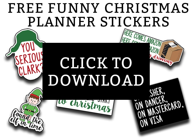 "Christmas Planner Stickers - Download this set of funny ""adulting"" planner stickers today! You get an entire letter size sheet of printable Christmas stickers. Perfect for The Happy Planner, Erin Condren, Recollections, and more. #planneraddict #plannerlover #christmasplanner"