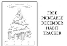 Free Christmas Mood Tracker. Use this bullet journal style habit tracker to track your mood or other topics. #planner #plannerfreebies #bujo