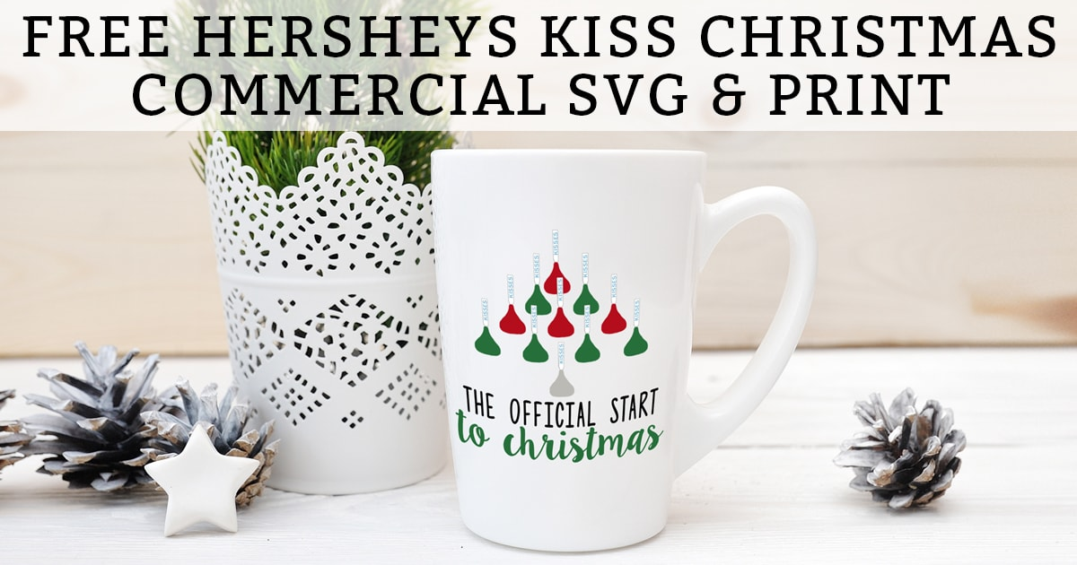 Free Hershey Kiss Christmas Commercial SVG and Print! Silhouette Christmas file included, too! This adorable free Christmas SVG would make a DIY Christmas gift (Christmas mug, shirt, etc). And the free Christmas print would like great framed and hung for the holidays. #silhouette #christmasDIY #freesvg