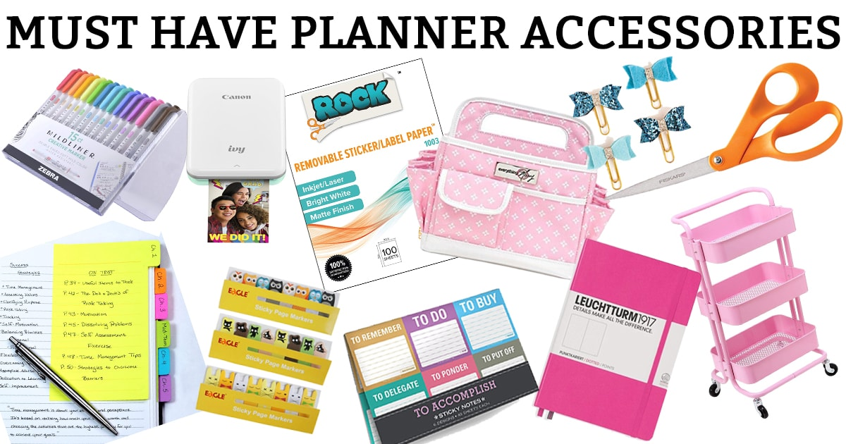 Check out my lineup of must have planner accessories. You'll find everything you need to get your planner stash started. #planneraddict #plannerlover