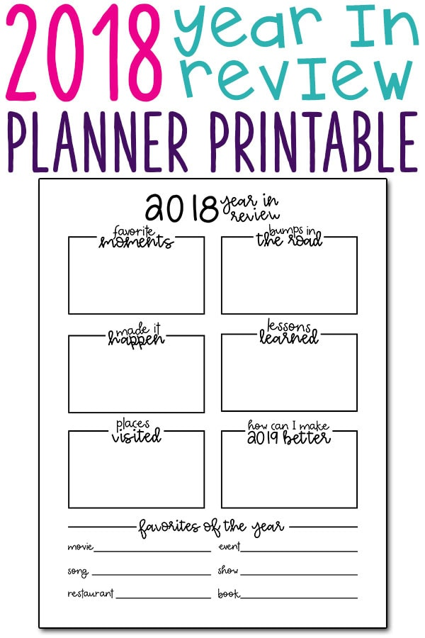 2018 Year in Review Printable - Download this free end of year planner printable today and reflect on the best and the worst of the year. #plannerprintable #freeplannerprintable #happyplanner