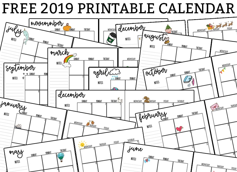 graphic relating to Monthly Printable Calendars referred to as 2019 Printable Calendar