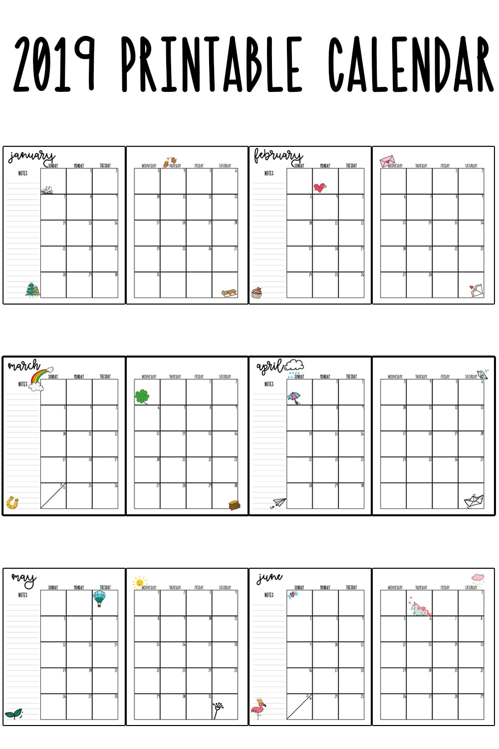 photo about Printable Monthly Calendars titled 2019 Printable Calendar