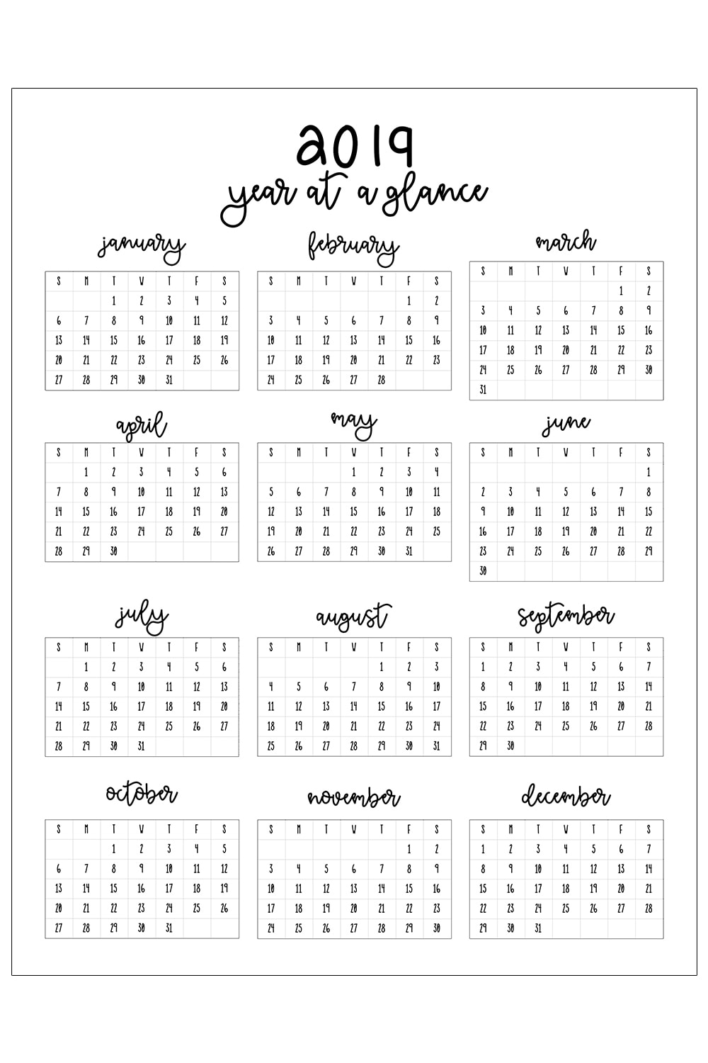 photo regarding Printable Calendars Free named 2019 Printable Calendar