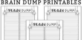 Brain dump template. Download these free brain dump planner printables. Use them organize your thoughts. #braindump #organization #plannerprintables