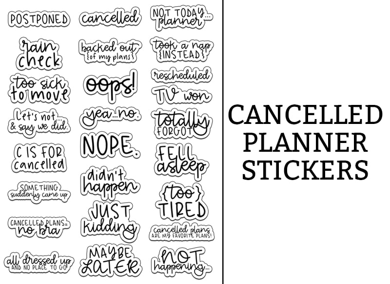 Cancelled Stickers. Download this free set of cancelled stickers perfect for cancelled plans in your planner. Available in standard size, mini and also with the spellings of Cancelled and Canceled. #plannerfreebies #planneraddic