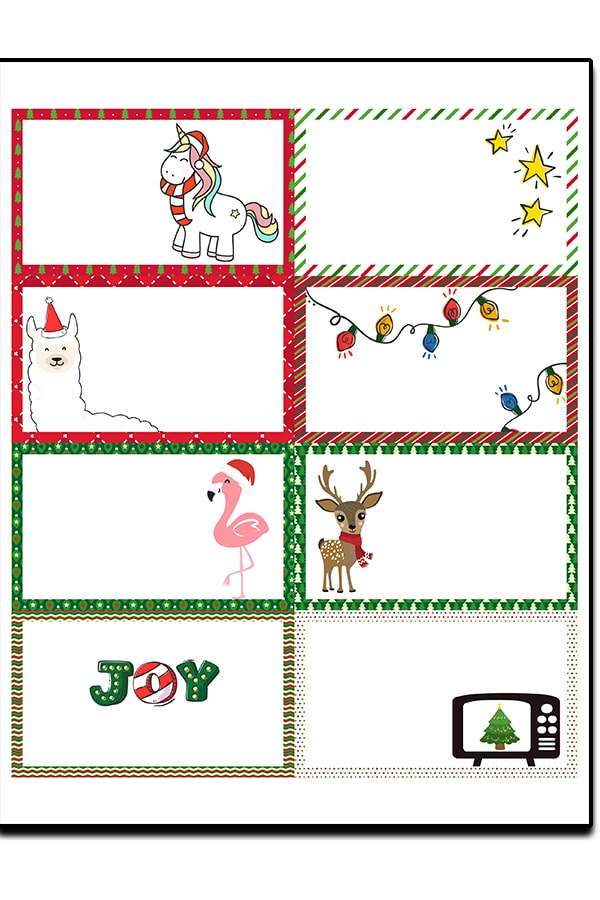 Christmas Lunch Notes - download 16 free Christmas lunch notes (with or without text). It's the perfect way to add a little holiday cheer to your child's lunch during the Christmas season. #freeprintables #christmasprintables #kidslunches