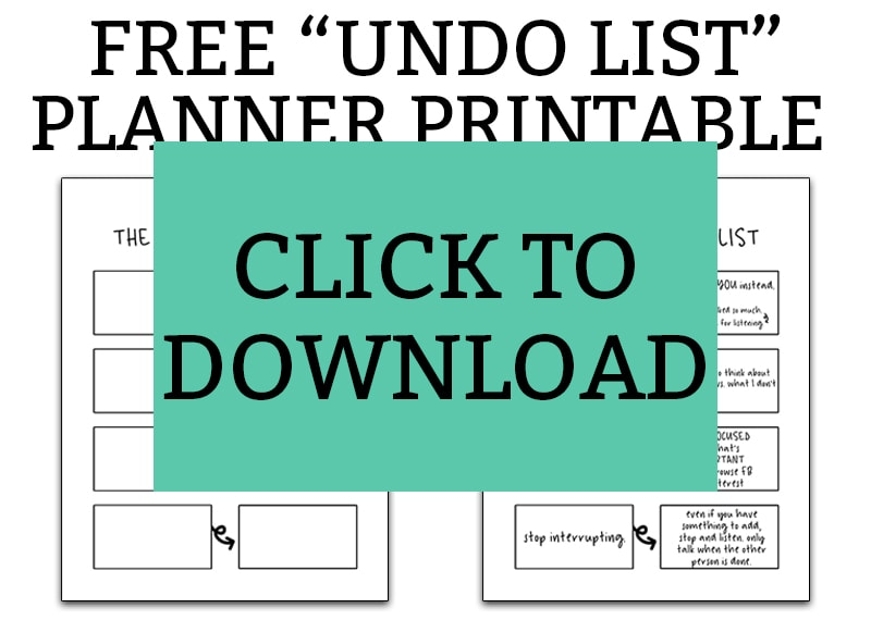 """Free printable """"undo"""" list. Download this free planner printable and get your bad habits under control this year. Work on all of the bad habits you want to break with this free planner printable. #plannerprintables #happyplanner #bujo"""
