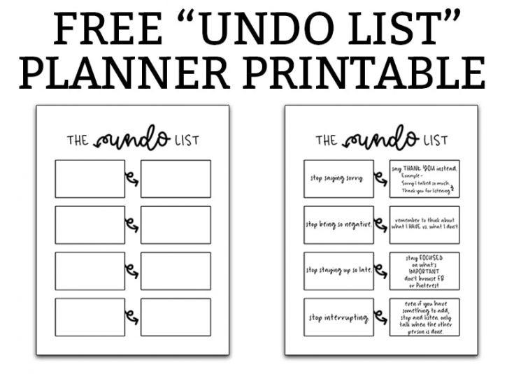 "Free ""Undo List"" Printable - Planner Printable for Bad Habits"