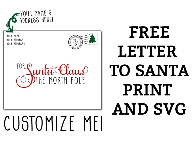 Free Letter to Santa SVG and Print. Silhouette file also included. It's a great Christmas Silhouette or Cricut craft. Make a personalized Christmas sign for yourself, family, or friends. #christmascraft #freesvg #silhouette