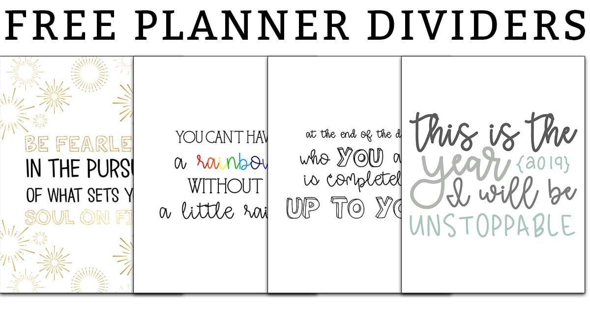 Planner dividers. Download this set of inspirational planner dividers. There is one quote for each month of the year and three designs of each. Bring a little inspiration to your planner! #planneraddict #plannerlover #happyplanner