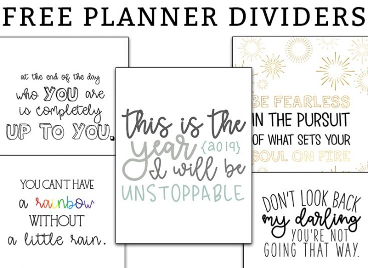 Planner Dividers - Free Printable Planner Dividers