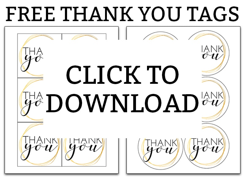 Printable Thank you Tags. Download these free thank you gift tags today and make your gift or favor extra special with not a lot of work. #freeprintables #giftwrap
