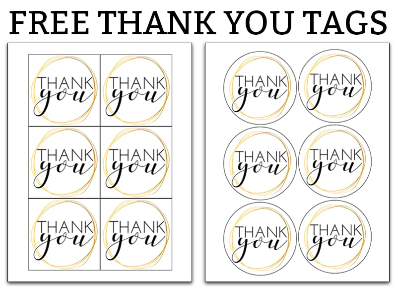 This is an image of Punchy Thank You Tags Printable