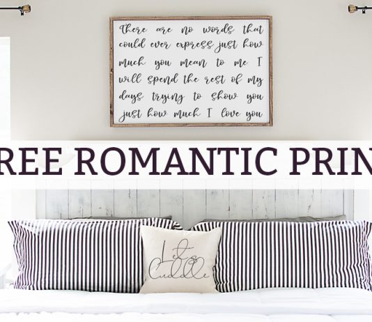 Romantic wall art. Download this free romantic print and SVG file. It's the perfect art for a master bedroom. It makes a great anniversary gift, too! #masterbedroom #freeprintables #decor