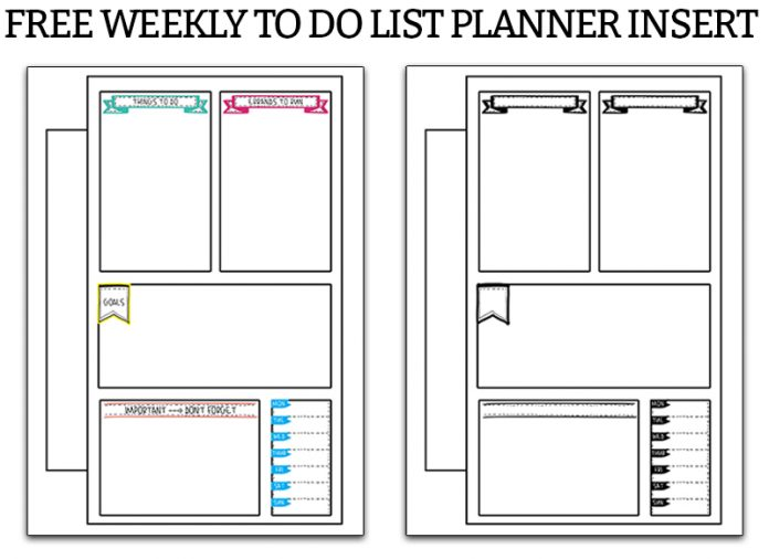 Weekly To Do List. Print this free weekly to do list planner printable. It's the perfect free planner insert to keep track of your to dos each week. There are 4 options available. #organization #plannerprintables