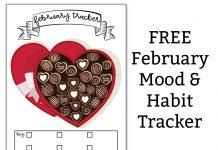 February Mood Tracker and Habit Tracker. Download this free February mood tracker or use it as a February habit tracker. It's a bullet journal style habit tracker. #bujo #plannerlover