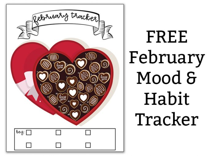 February Mood Tracker and Habit Tracker. Download this free February mood tracker or use it as a February habit tracker. It's a bullet journal style habit tracker. #bujo #plannerlover