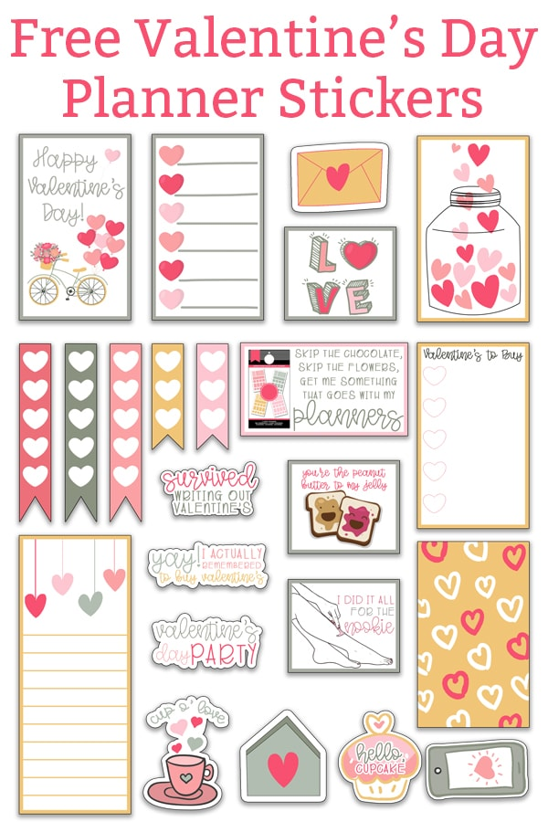 set of Valentine's day stickers in shades of pink, green, and yellow. There is a bicycle sticker with balloons that is the inspiration for the set. The rest of the stickers have a lot of hearts.